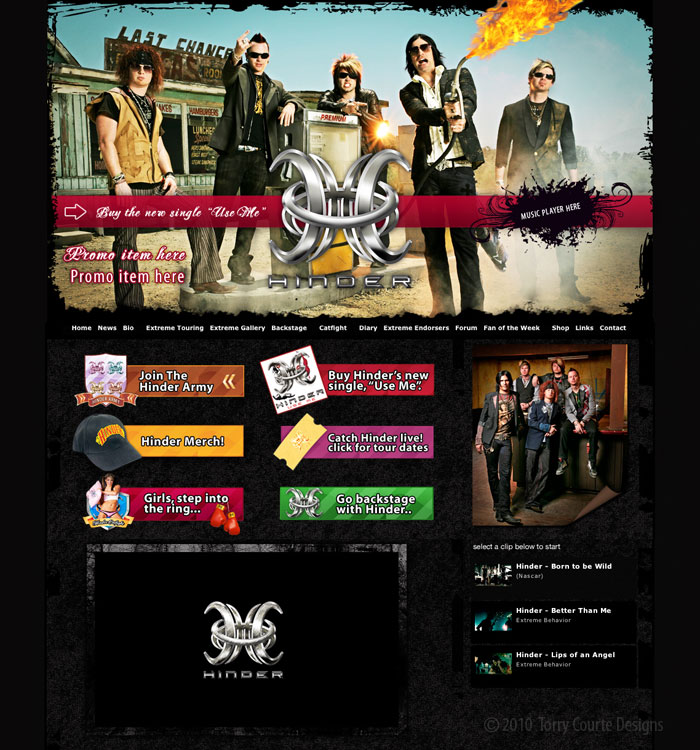 Hinder website by Torry Courte